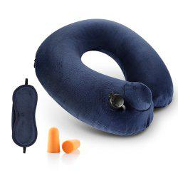 COZZINE Inflatable Pillow with Blindfold and Pair of Earplug -