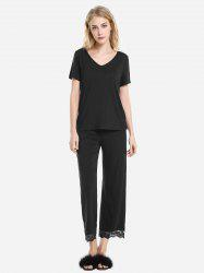 ZAN.STYLE V Neck Sleepwear Short Sleeve Pajama Set -