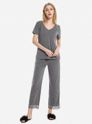 V Neck Sleepwear Short Sleeve Pajama Set -