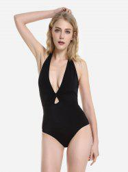 ZAN.STYLE Self Tie Halter Neck One-Piece Swimsuit -