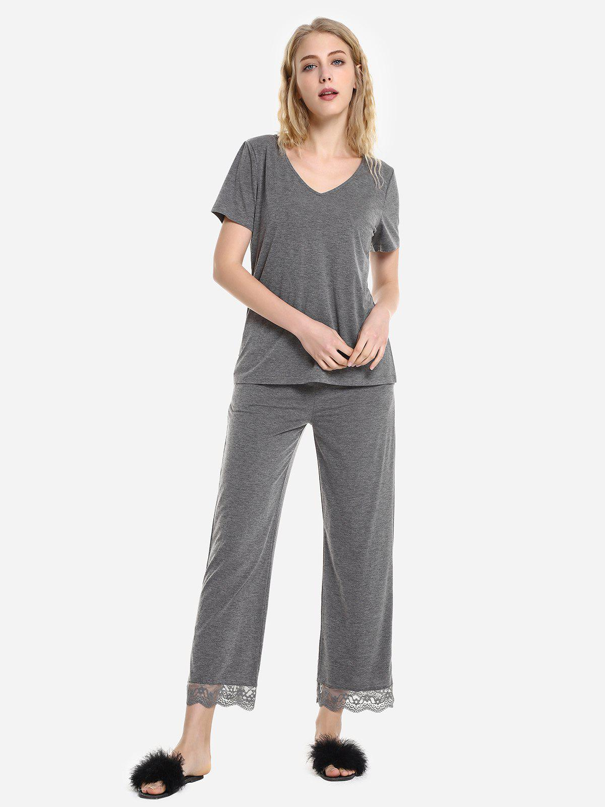 Cheap V Neck Sleepwear Short Sleeve Pajama Set