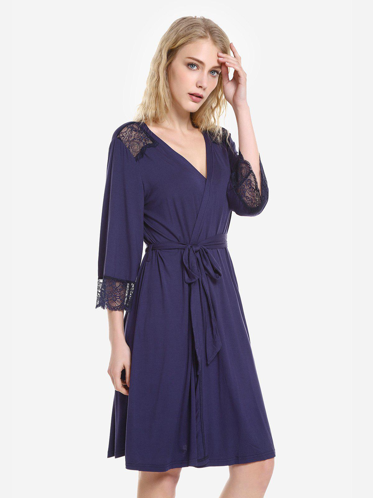ZAN.STYLE Front Open Nightgown Belt Sleepwear Кубовый цвет L