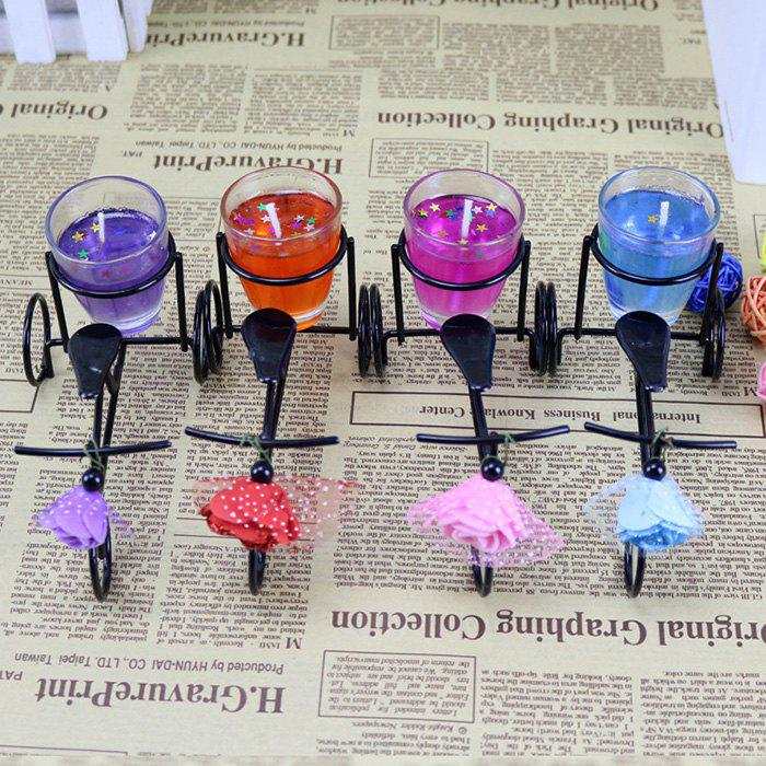 Fashion Wrought Iron Bicycle Candle Set Decoration Creative Bicycle Jelly Candle Birthday Wedding Fragrance Decoration Gift