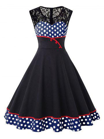 Round Collar Lace Patchwork Polka Dot Dress