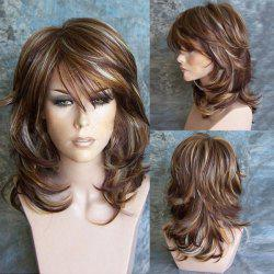 Orgshine Wig Female High Quality Intranet Medium Side Bang Highlighted Layered Slightly Curled Synthetic Wig With Hairnet -