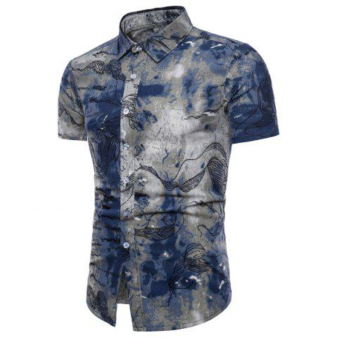 Men Casual Shirts Short Sleeved Casual Dress Shirts Tops Hawaiian Shirts Summer Linen - BABY BLUE - 4XL