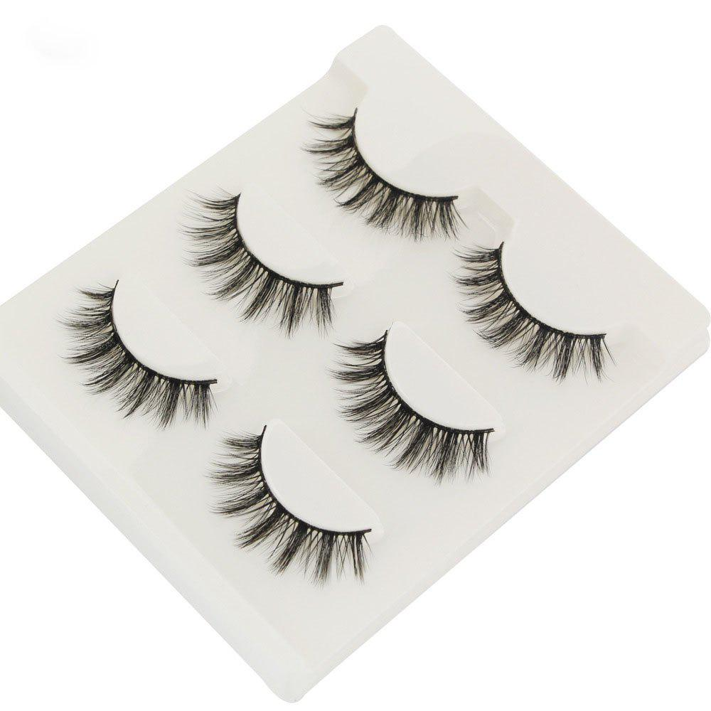 Hot 3Pair/Set 3D Mink False Eyelashes Handmade Black Thick Natural Long Fake Eye Lashes Extension Beauty Stage Smoked Make Up
