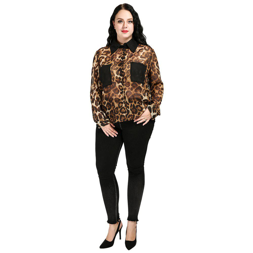 e8b14073bb75ae 47% OFF] Plus Size Leopard Loose Chiffon Shirt | Rosegal