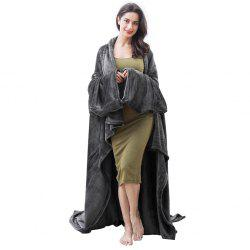 LANGRIA Microfibre Snuggle Blanket with Sleeves and Pocket, Soft and Fluffy Flannel Blanket TV Wearable Blanket for Adult Women Men Couch Sofa Bed, 170cm x 200cm, Black -