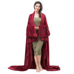 LANGRIA Microfibre Snuggle Blanket with Sleeves and Pocket, Soft and Fluffy Flannel Blanket TV Wearable Blanket for Adult Women Men Couch Sofa Bed, 170cm x 200cm, Claret-red -