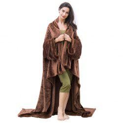 LANGRIA Microfibre Snuggle Blanket with Sleeves and Pocket, Soft and Fluffy Flannel Blanket TV Wearable Blanket for Adult Women Men Couch Sofa Bed, 170cm x 200cm, Brown -