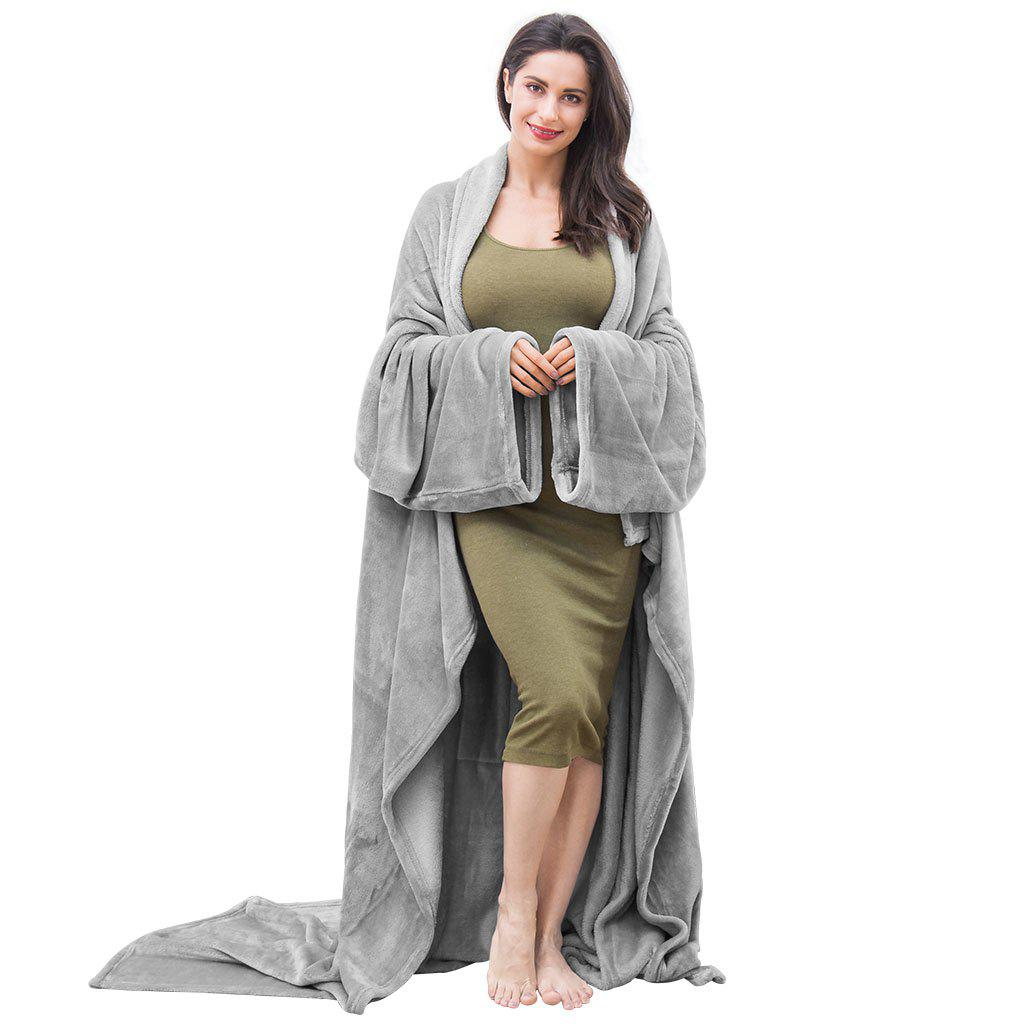 Latest LANGRIA Microfibre Snuggle Blanket with Sleeves and Pocket, Soft and Fluffy Flannel Blanket TV Wearable Blanket for Adult Women Men Couch Sofa Bed, 170cm x 200cm, Grey