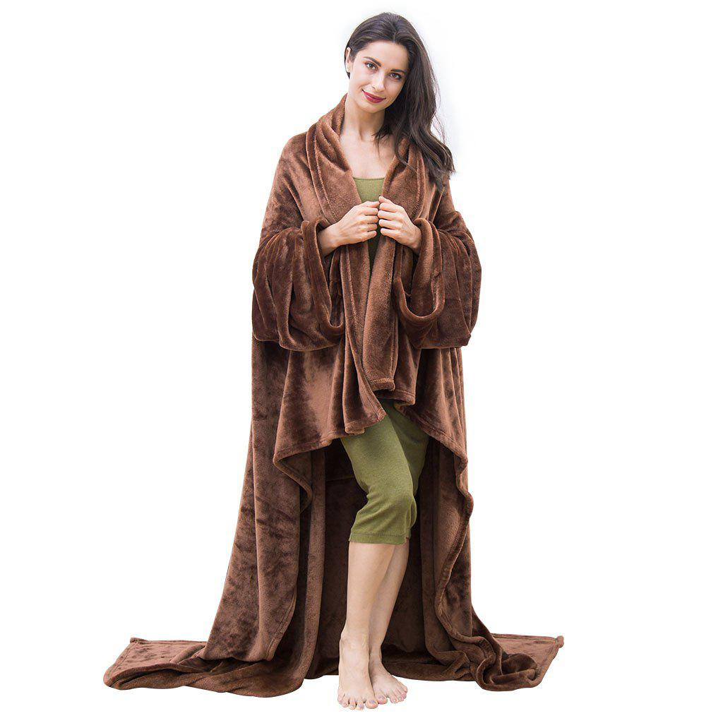 Sale LANGRIA Microfibre Snuggle Blanket with Sleeves and Pocket, Soft and Fluffy Flannel Blanket TV Wearable Blanket for Adult Women Men Couch Sofa Bed, 170cm x 200cm, Brown