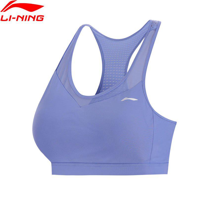 Affordable Li-Ning Performance Women Base Layer Walking Fitness Medium Support Tight Fit LiNing Sports Bra Tops AUBN036-4