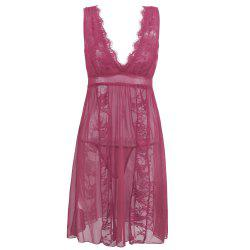 Women Sexy Deep-V Neck Backless Babydoll Lingeries Sleepdress -