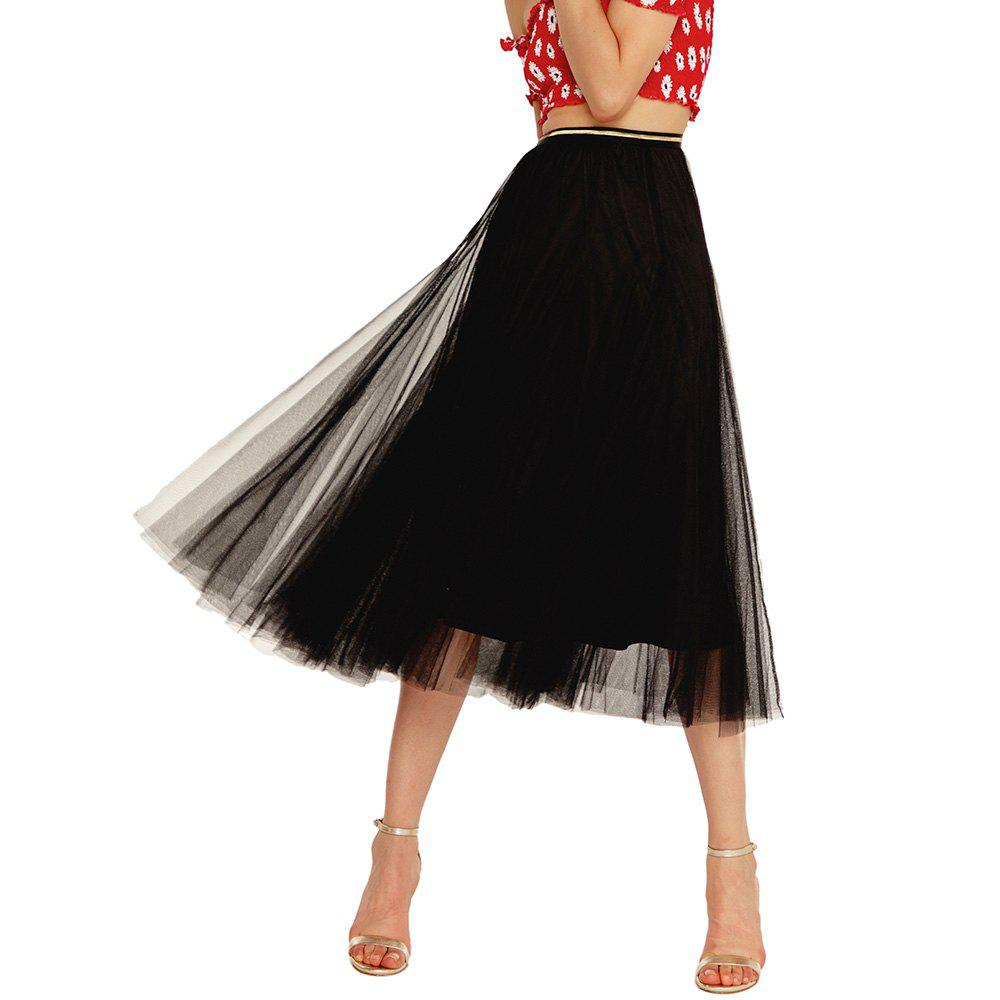 Outfit Womens Elegant Combo Color Waistband Pleats Skirt