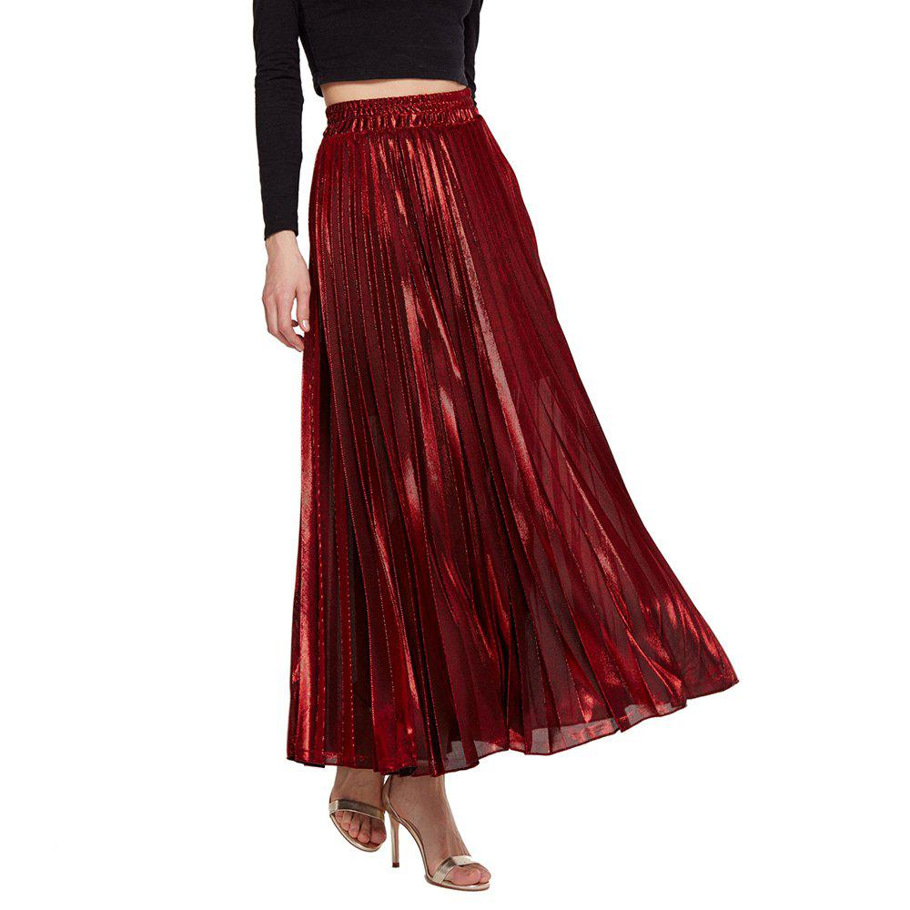 New Womens Lurex Sunray Pleats A Line Skirt