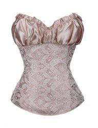 Women sexy ruffled  retro print Corset Bodyshaper Top -