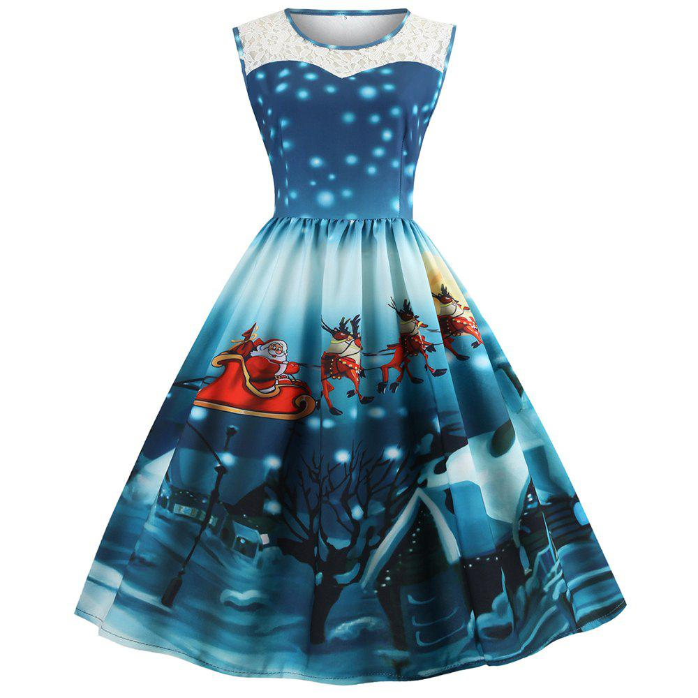 0c1e7369830d Sale Womens Christmas Gifts Santa Claus Print Lace Retro Round Neck  Sleeveless Swing Party Dresses