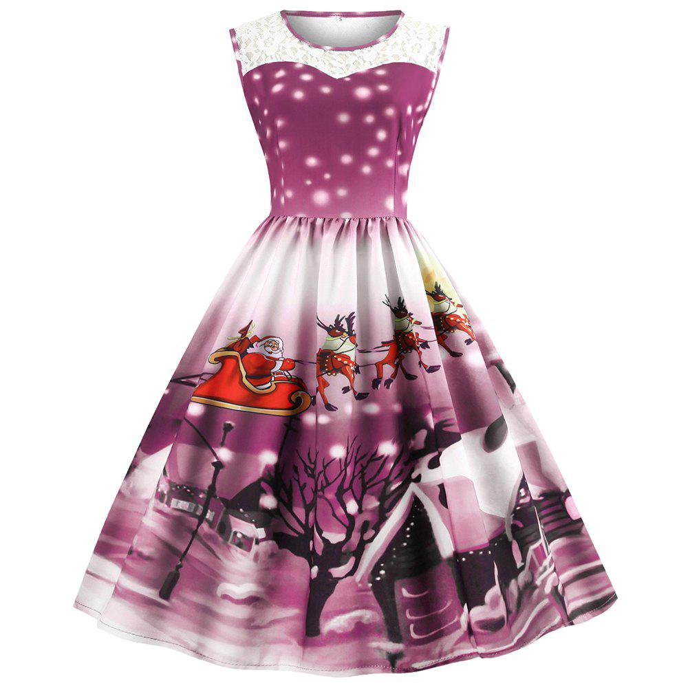 Fancy Womens Christmas Gifts Santa Claus Print Lace Retro Round Neck Sleeveless Swing Party Dresses