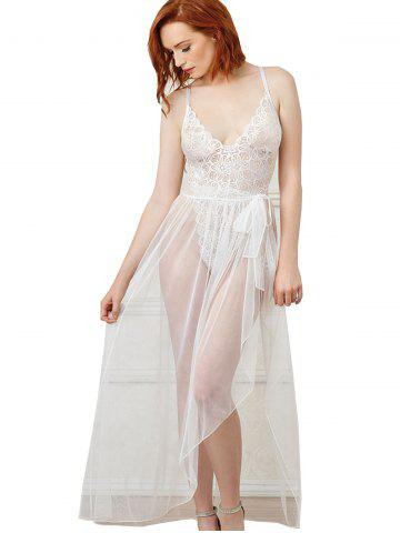 Women Sexy Halter Two Piece Of Babydoll Lingeries, White