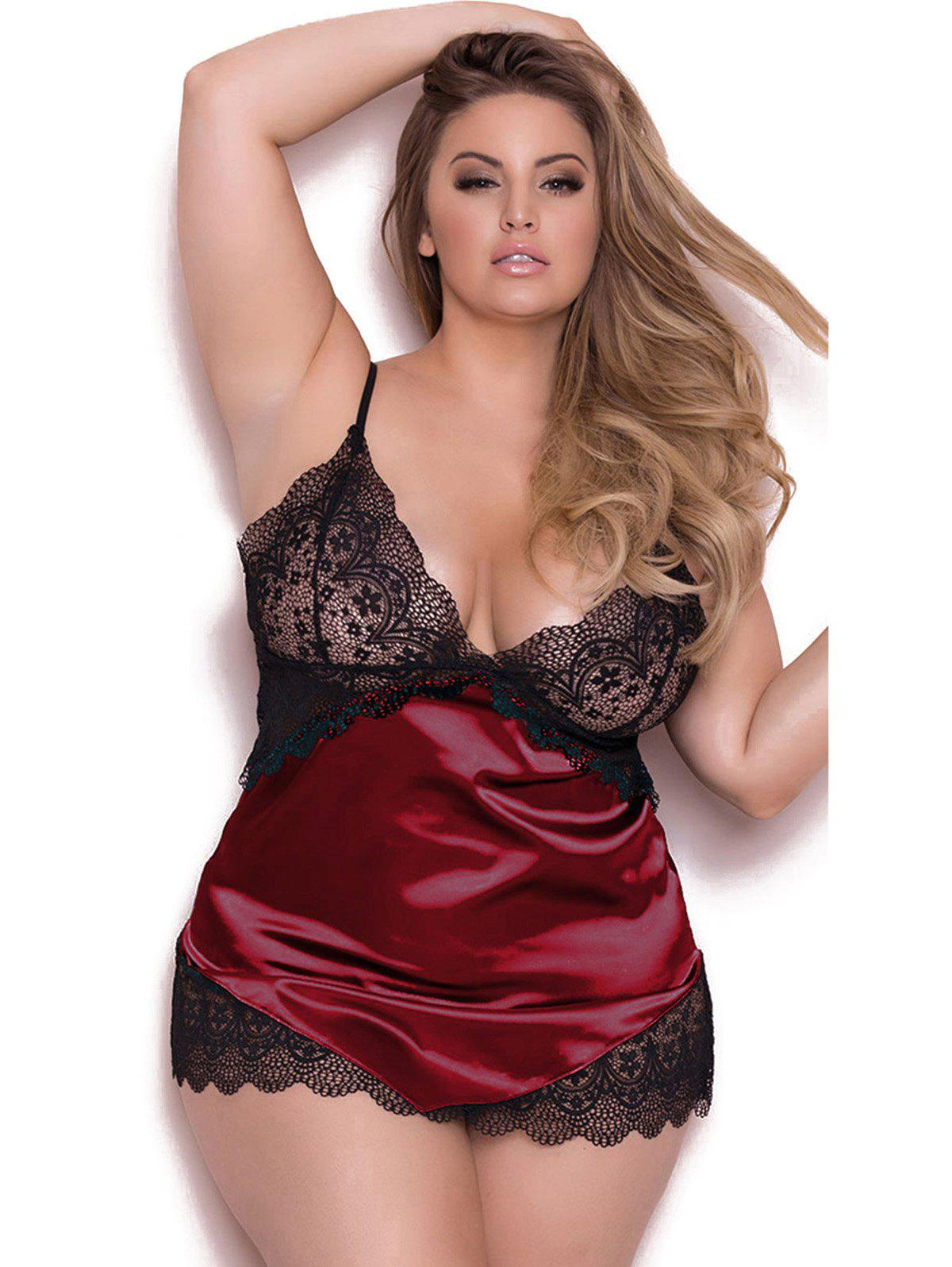 Online Adjustable Shoulder Straps Plus Size Babydoll Lingeries