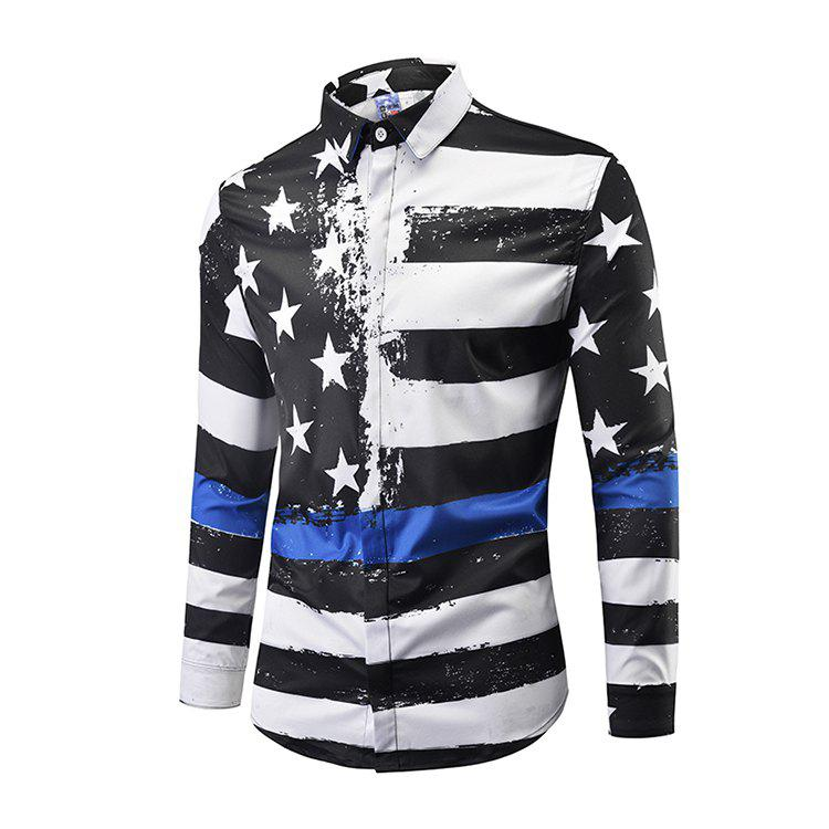 Latest Fashion Leisure Men Ink-jet Digital Printing Long-sleeved Shirt CXCY807008#