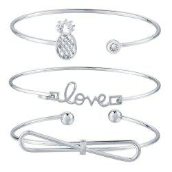 4pcs Braclet Set Stainless Steel Crystal Braclet Star Moon Love Wedding Cuff Bangle Bracelet -