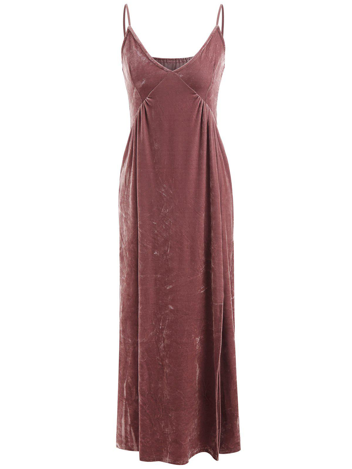 Outfit Pleated Long Camisole velvet Dress