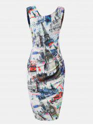 Women Printed sleeveless Slim Pencil Dress -