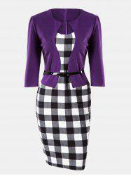 Plaid Stitching Seven Sleeves Business Slim Pencil Dress -