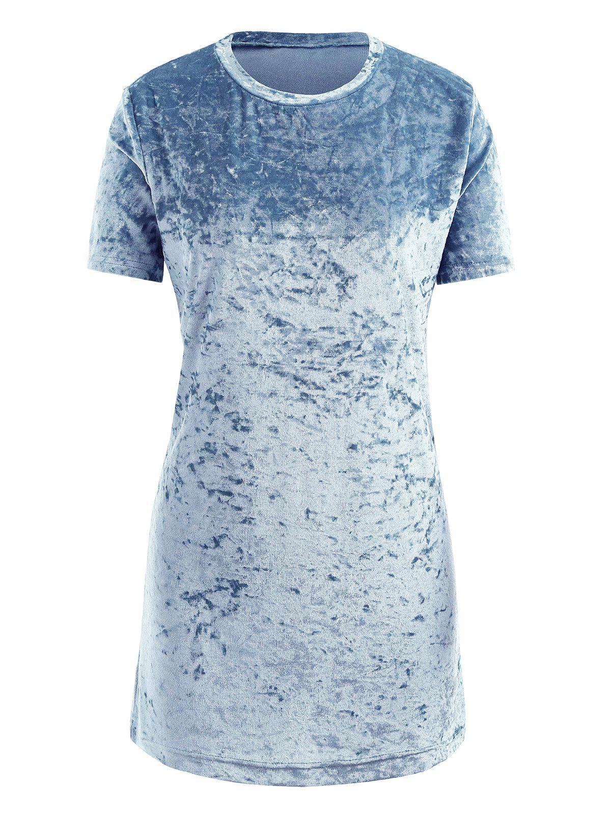 Discount Gamiss Womens Crushed Velvet O Neck Casual Short Sleeve Loose T-Shirt Dress