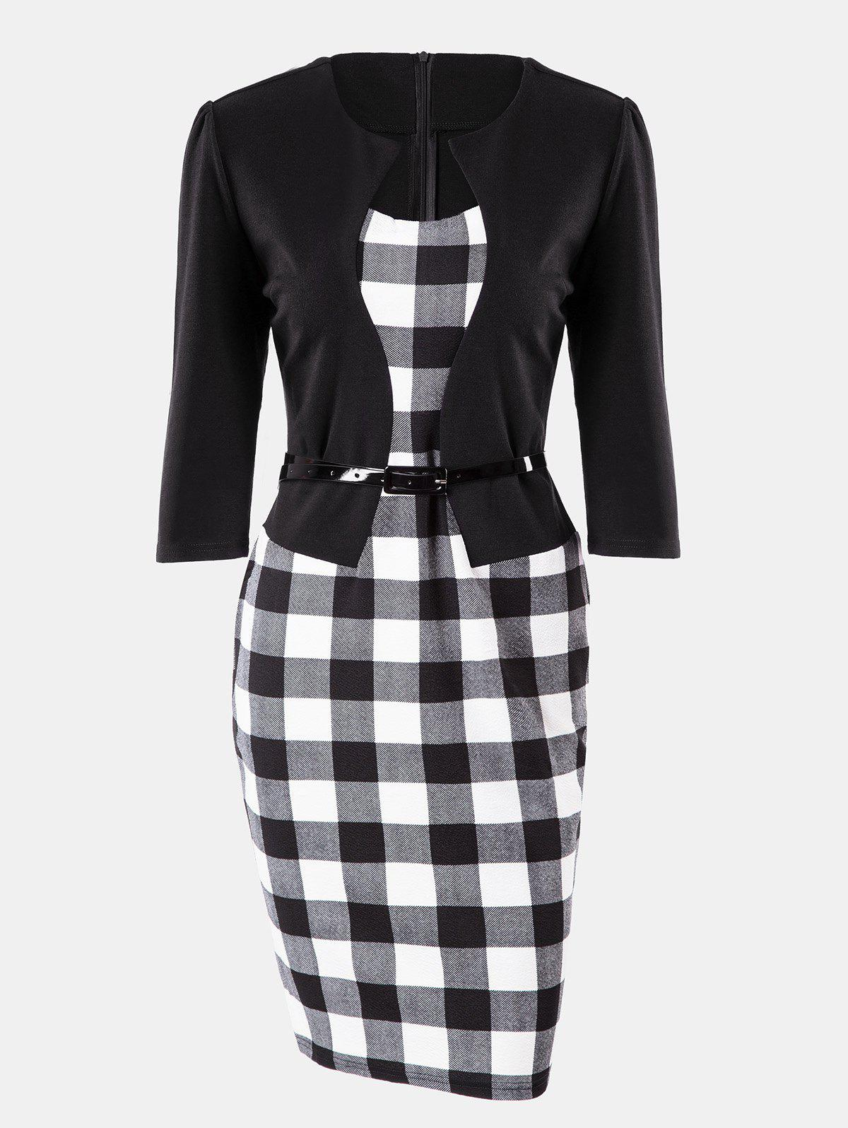 Store Plaid Stitching Seven Sleeves Business Slim Pencil Dress
