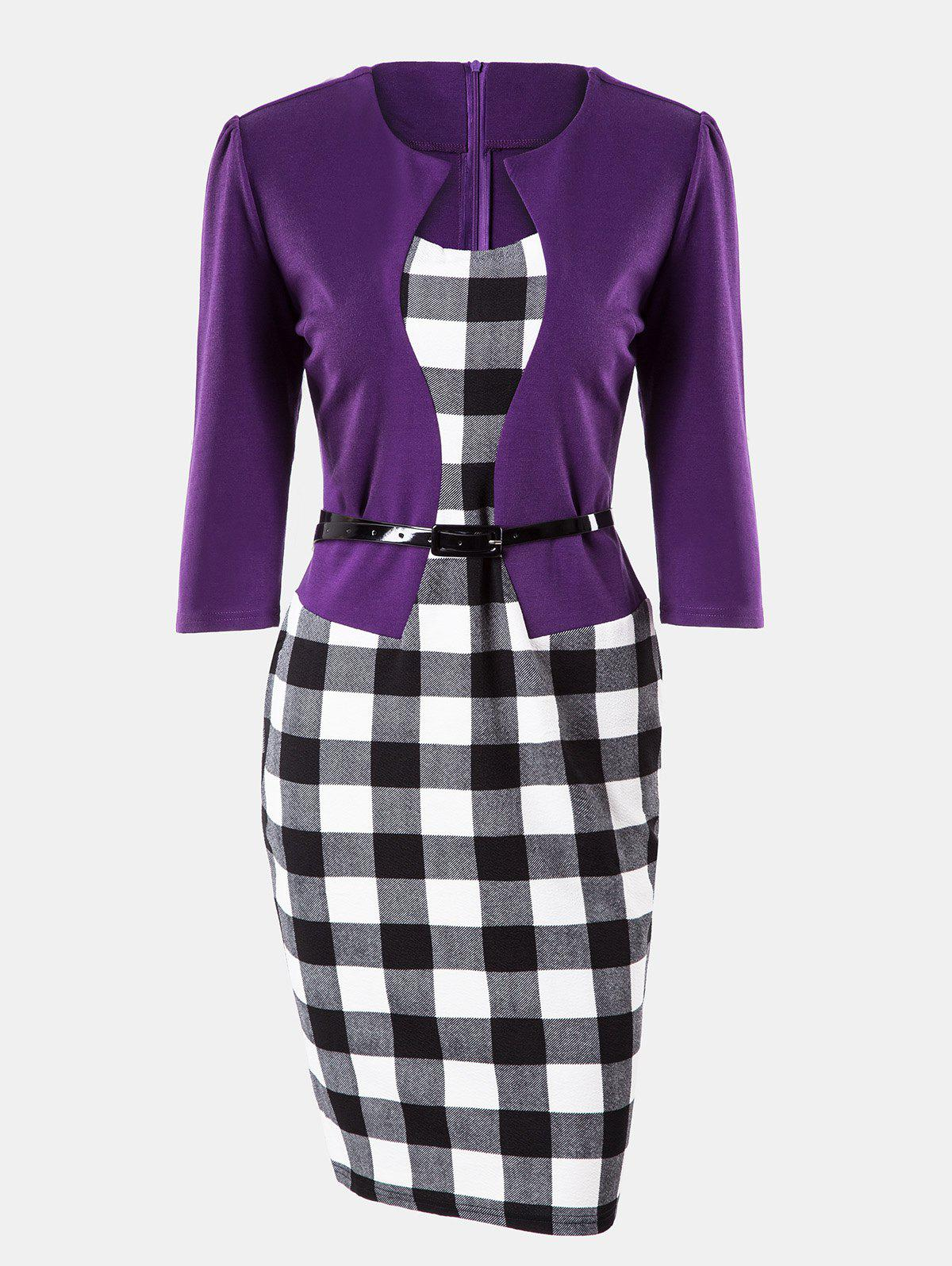 Affordable Plaid Stitching Seven Sleeves Business Slim Pencil Dress