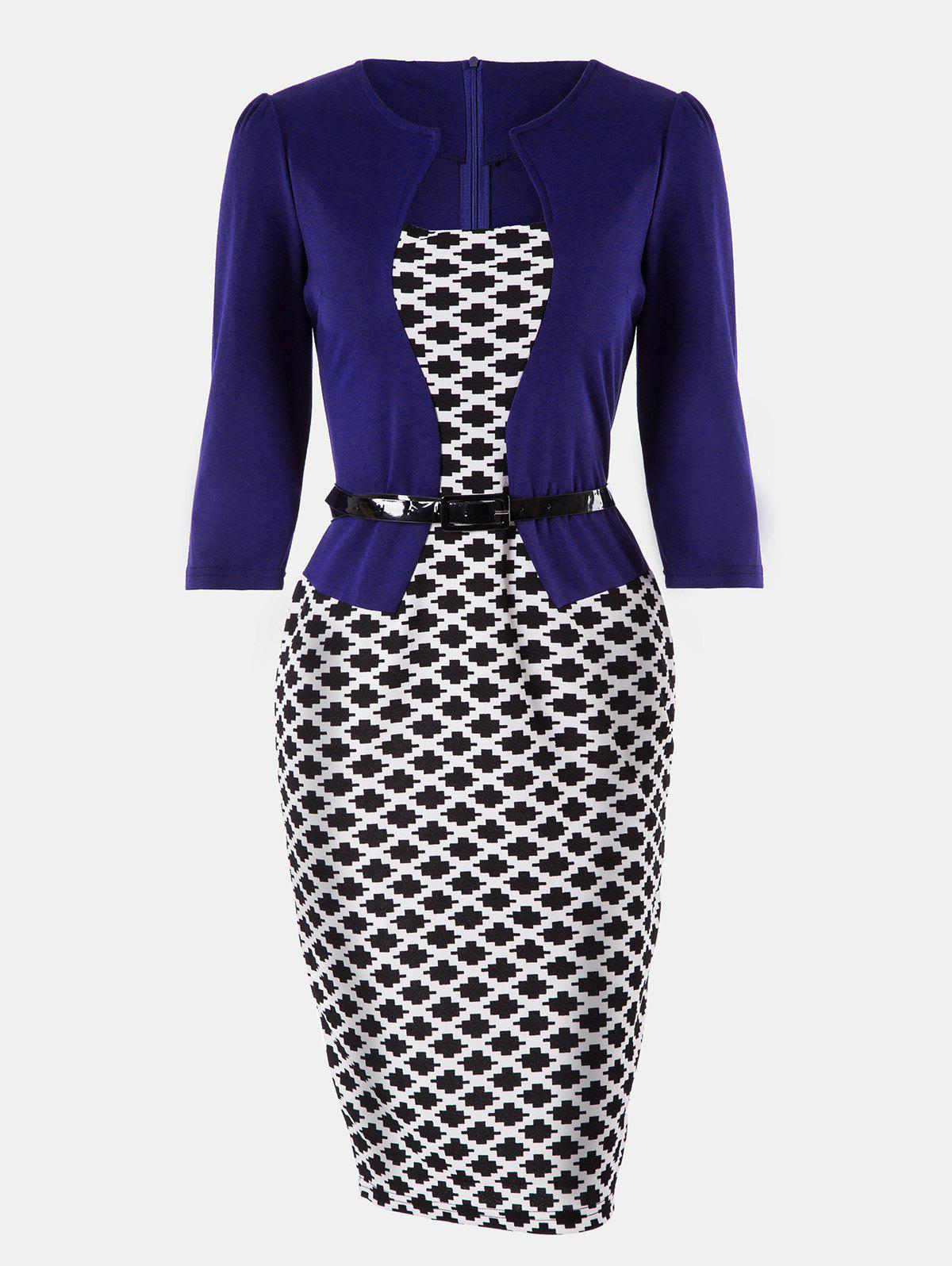 Latest Plaid Stitching Seven Sleeves Business Slim Pencil Dress