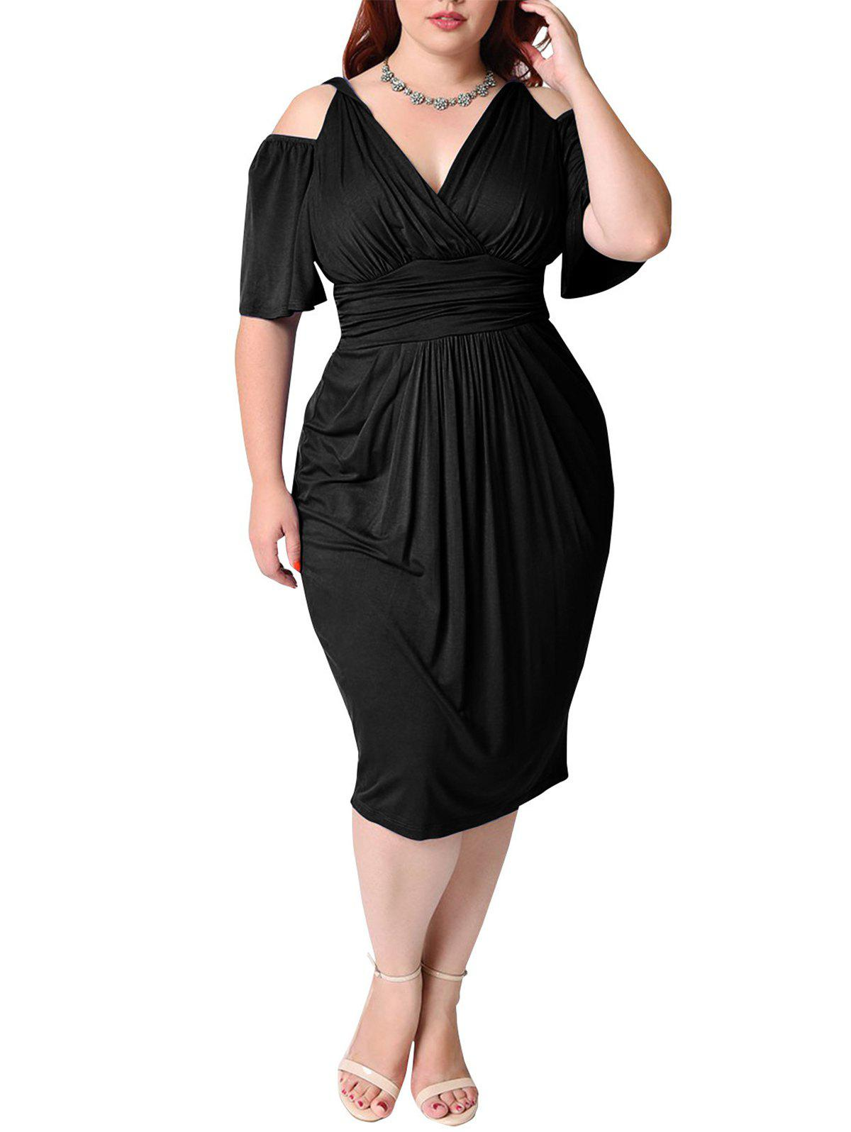 Outfit Plus Size Deep V Pleated Off shoulder Dress