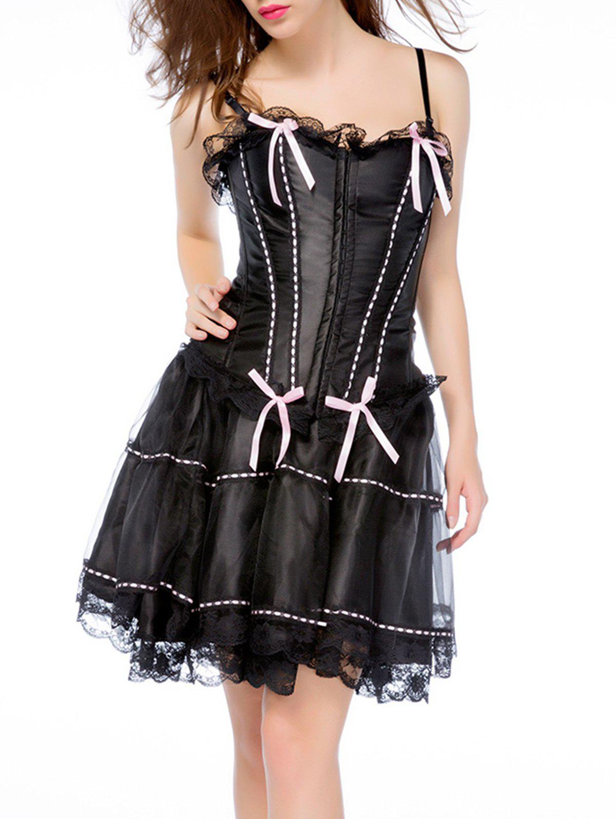35% OFF] Plus Size Gothic Lace Corset Skirt | Rosegal