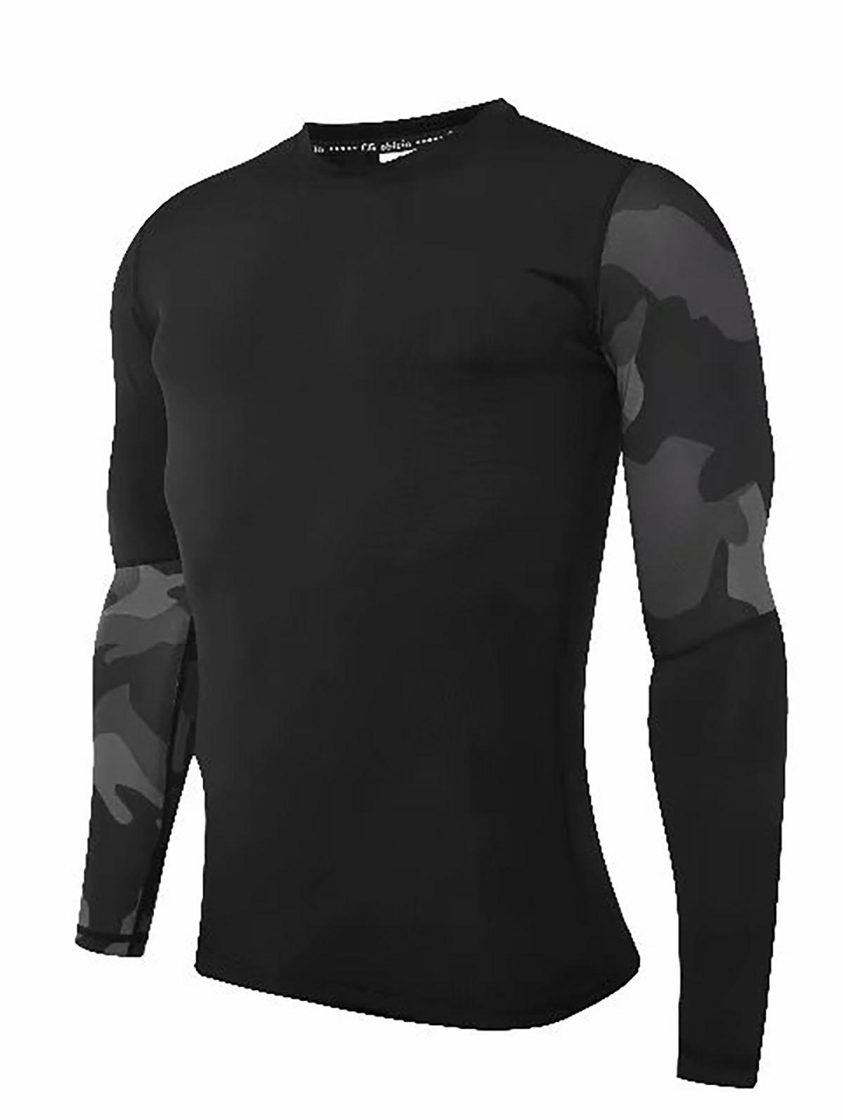 Latest Compression T-Shirt Men Tight Jersey Fitness Sport Suit Gym Blouse Running Shirt Black Bodybuilding Sportswear Lshen508