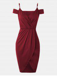 Women V-neck Wrap dress With Irregular Dress -