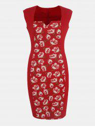 Women's Floral Print Stitched Slim Pencil Dress -