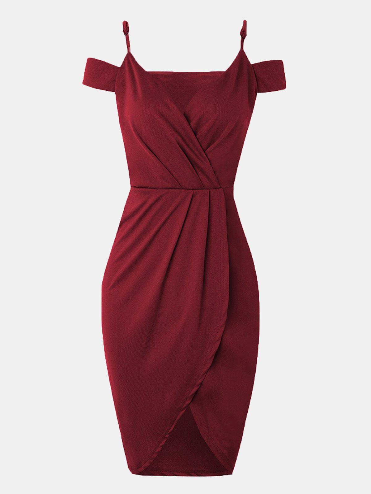 Cheap Women V-neck Wrap dress With Irregular Dress