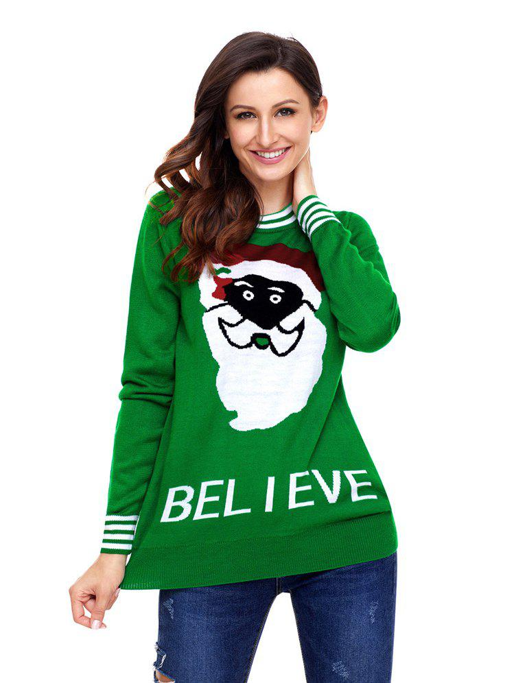 Best Christmas long sleeve Santa monogram pullover casual sweater