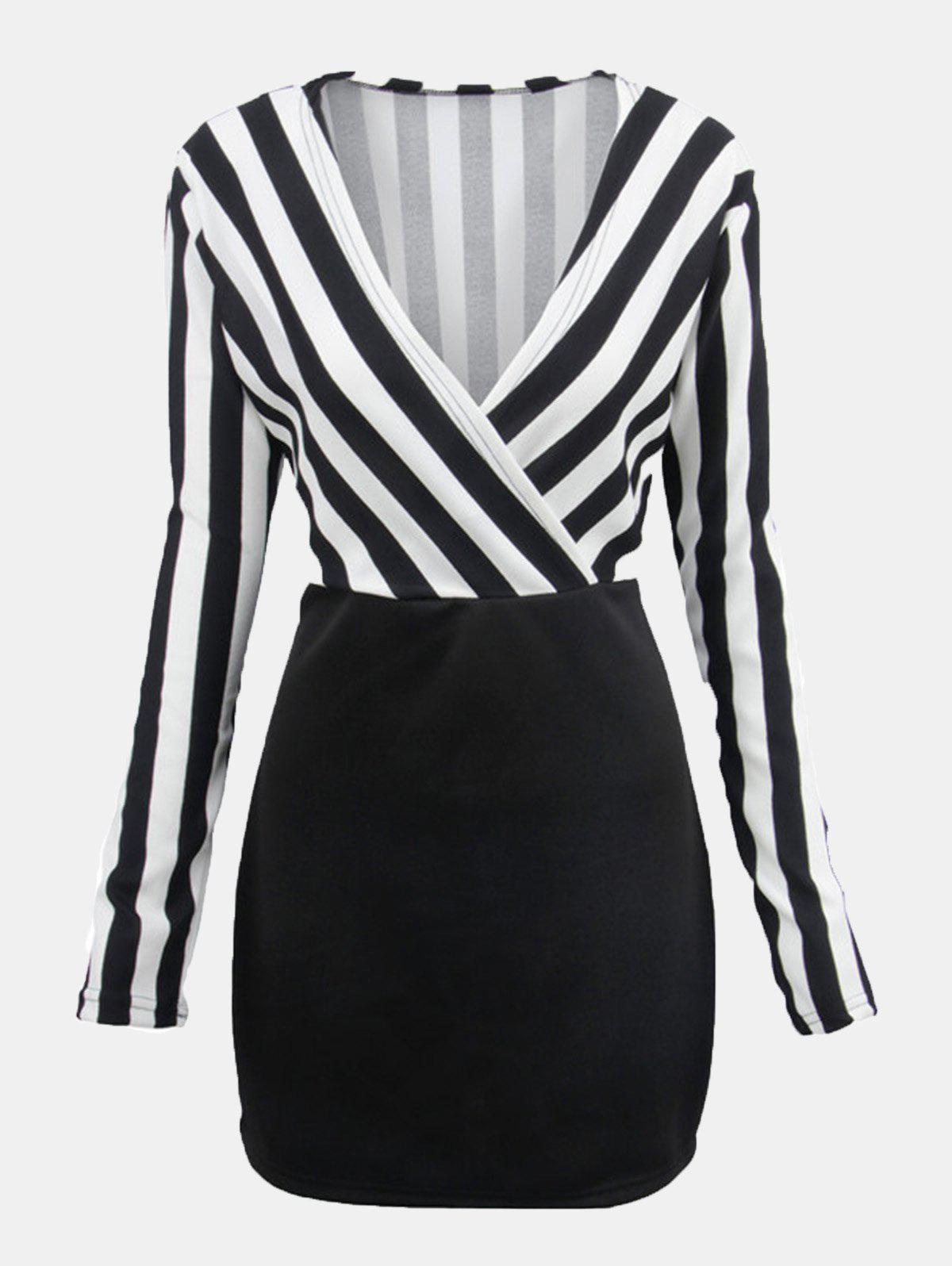 Outfits Women V-neck Stripes Patchwork Long Sleeve Wrap Dress