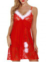 V-neck Feathers See Through  Christmas Babydoll Lingerie -