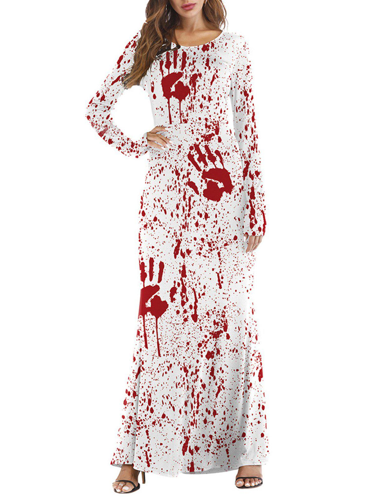 cd9f6c46e7c Chic Womens Halloween Day Death Costume Funny Skull Blood gown Dress Tight  Long Sleeved Cosplay Maxi