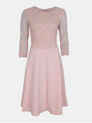 Lace Patchwork Round Collar 7 Point Sleeve A-line Dress