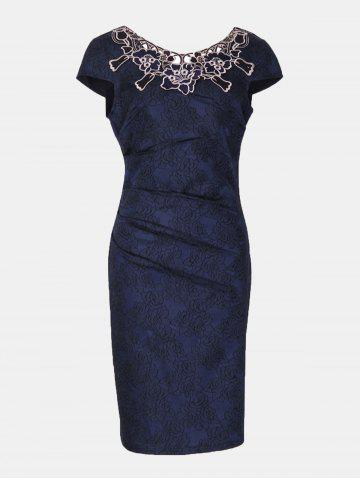 Floral Embroidered Short Sleeve Pencil Dress