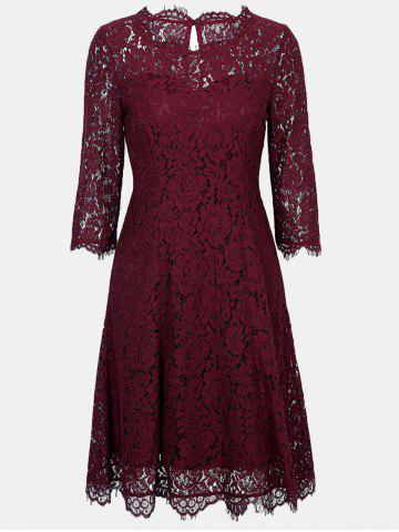 Lace Round Collar 3/4 sleeves A-line Dress