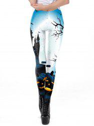 Womens Classic Retro Printed Casual Pattern Ankle Length Elastic Tights Leggings -
