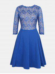 Lace Patchwork Round Collar 7 Point Sleeve A-line Dress -
